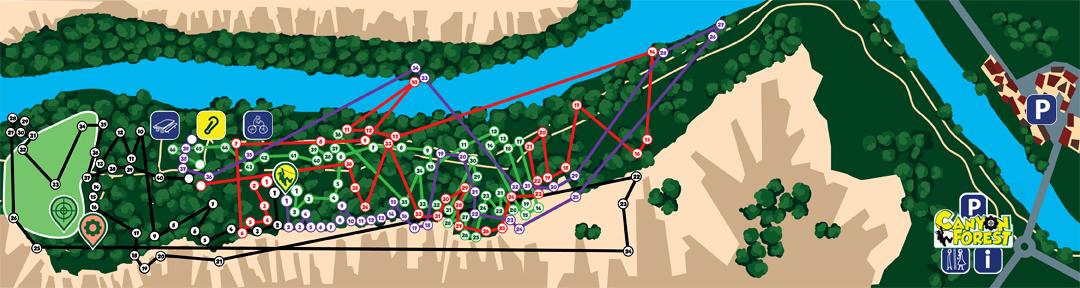 Plan des parcours du parc Aventures